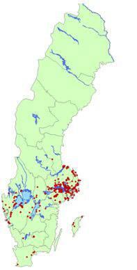 TBE-smitta finns spritt i flera delar av Sverige. Kartan visar var TBE-smittan finns.