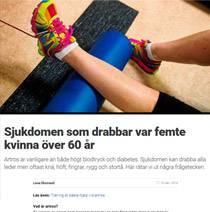 Artikel i Göteborgsposten med fakta från Artros-kollen