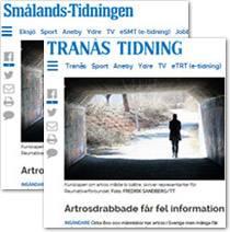 Smålandstidningen och Tranås tidning om brister i artrosvården